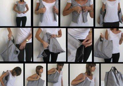 Çantaya dönüşen giysi tasarımı